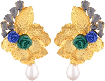 SB Fashions Golden leaf earring with blue and green flower Brass Jhumki Earring