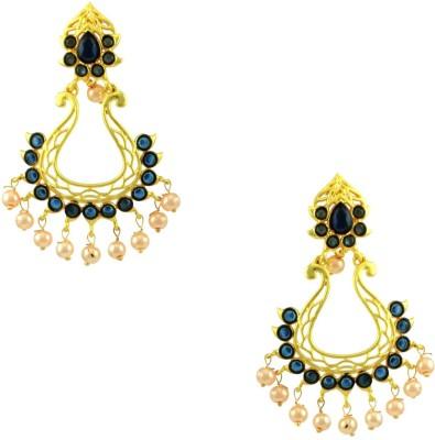 Orniza Rajwadi Earrings in Blue Color and Matt Gold Polish Brass Dangle Earring