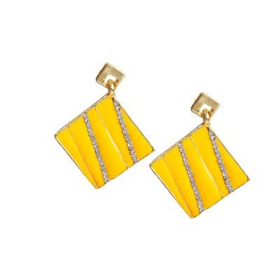 Bezel ME - 56 Golden Yellow Alloy Drop Earring