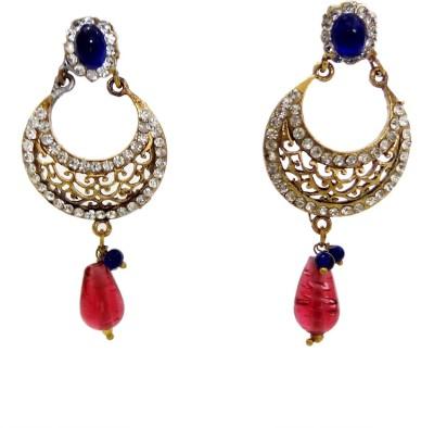 W Stop Princess Delivht Crystal Brass Chandbali Earring