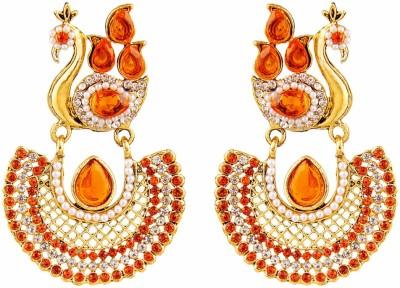 REEVA FASHION JEWELLERY DANCING PEACOCK IN ORANGE STONE Opal Zinc Dangle Earring