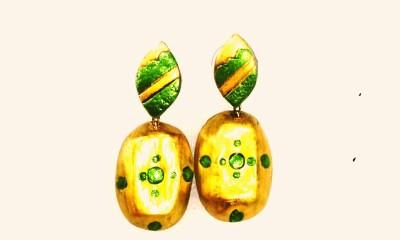 Sri Sakthi Terracotta goldengreen Fabric Dangle Earring