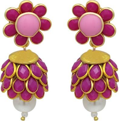 Ranvijay Trendy Pink Beads Alloy Drop Earring