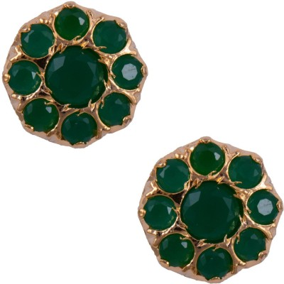 Mahaveer Pearls Tempting Emerald Brass Stud Earring