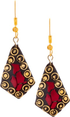SKGB Red Pyramid Alloy Dangle Earring