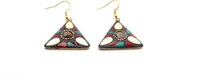 Zidox Multicoloured Triangle Shaped Handmade Brass Dangle Earring