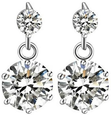 Caratcube Silver 18K White Gold Plated Austrian 2 Crystal Dangle Crystal Alloy Drop Earring