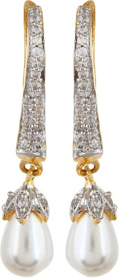 Moda Stella Pearl Earrings Cubic Zirconia, Zircon Brass Hoop Earring