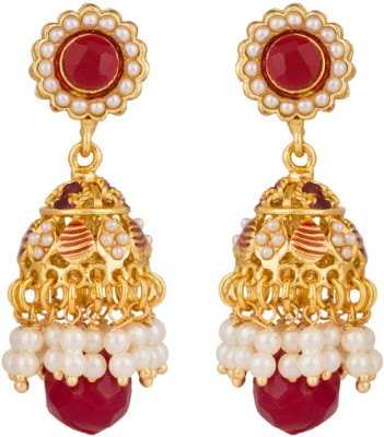 Rajwada Arts Red And White Stones Brass Jhumki Earring