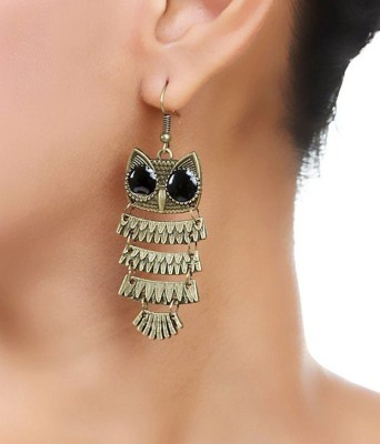 French Aura Owl Alloy Dangle Earring