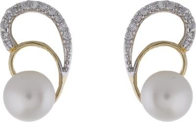 Jewel Planet Leaf Shape Pearl Alloy Stud Earring