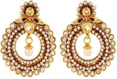 Adwitiya Collection Spring Sparkle Pearl Copper Dangle Earring