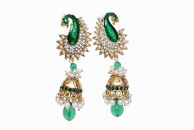 NM Products Green Alloy Chandbali Earring