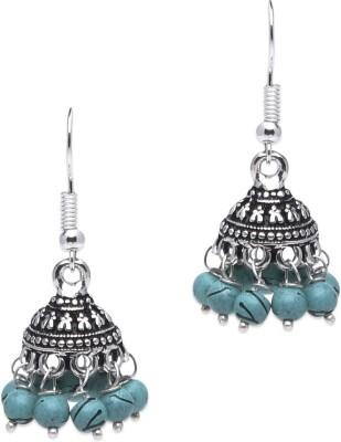Supriya Turquoise Pearls & White Metal Jhumki Earring