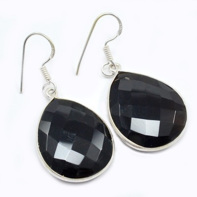 Silvesto India 1476 Onyx Sterling Silver Drop Earring, Dangle Earring