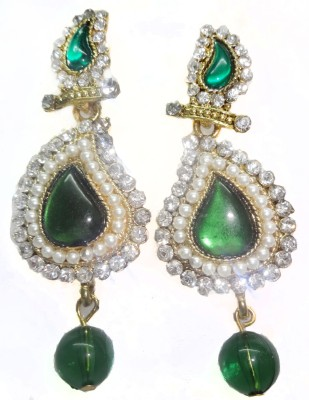SB Fashions Dark green pearl Brass Drop Earring