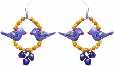 Juhi Malhotra Purple And Orange Bird Wood Drop Earring