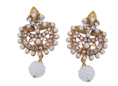 NM Products Golden Alloy Chandbali Earring
