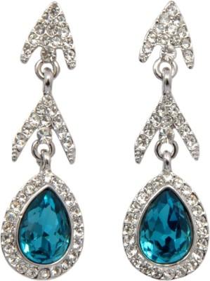 Royal Blue and Silver Long Swarovski Crystal Alloy Dangle Earring
