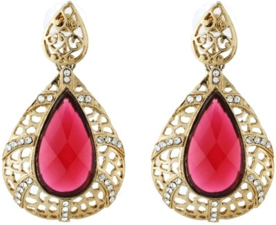 Art Nouveau Kundan and Stone Design Gold Plating Brass Drop Earring