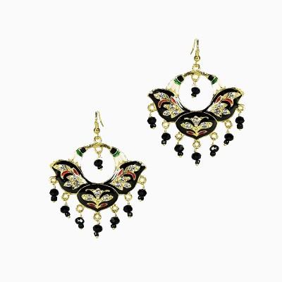Artisan Black Floral Enamel Metal Jhumki Earring