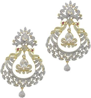 Mehrunnisa Double Peacock Shape Gold Tone American Diamond Metal Drop Earring