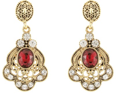 Donna Red Floral Oval Crystal Metal Drop Earring
