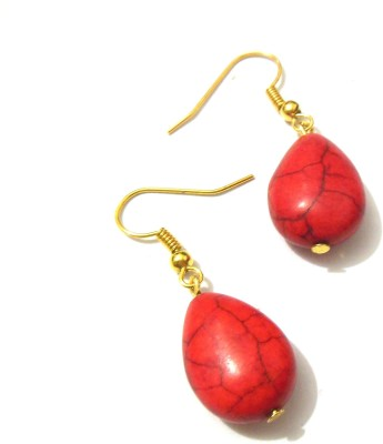 Bohocraft Bohemian Red Turquoise Stone Dangle Earring