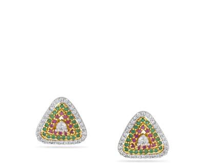 Fashionage 3 In 1 Stylish American Diamond Alloy Stud Earring