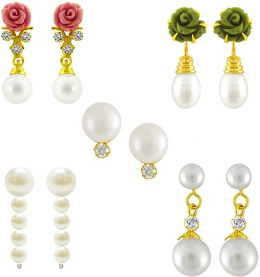 JPearls Valentines Special Cubic Zirconia Alloy Earring Set