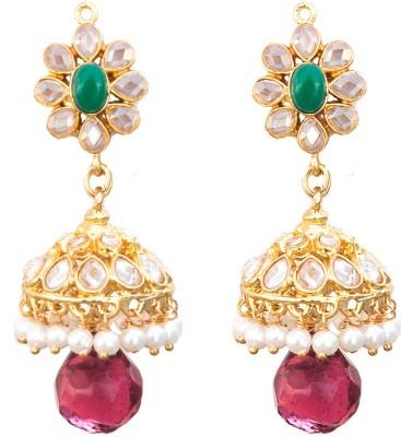 6 Lotus Ethnic Crystal Brass Jhumki Earring