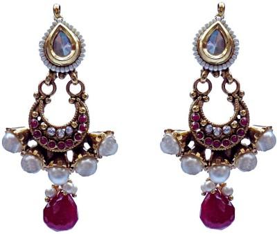 Kundaan Polki Style Crystal Brass, Copper Chandbali Earring