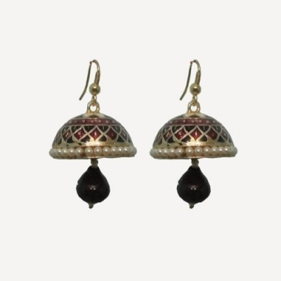 Indianpasand Rajasatani Multicolor with Black Bead Alloy Dangle Earring