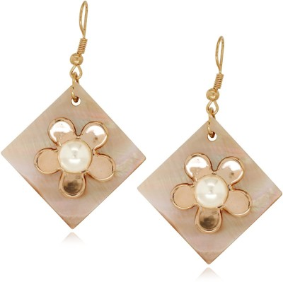 Spargz Fashionable Floral Design Square Sea Shell Alloy Drop Earring