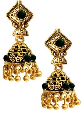 Beingwomen Oxidized Gold Green Stone Fashion Alloy Jhumki Earring