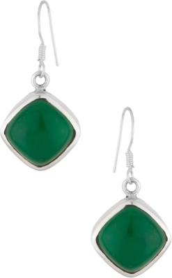 Gemshop BEAUTIFUL GREEN ONYX STERLING 92.5 Silver Dangle Earring