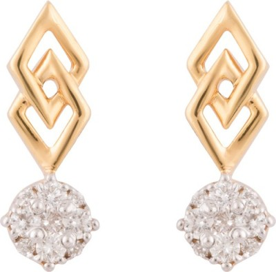 Wite&Gold Kite Drop Diamond Yellow Gold Stud Earring