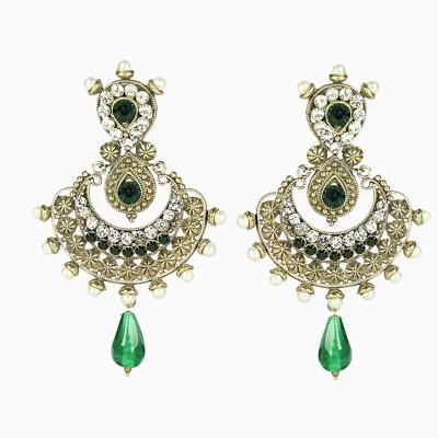 Artisan Geen stone earrings Stone Chandbali Earring