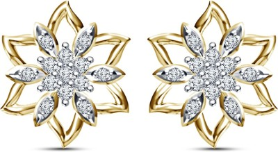 Kirati Beautiful Flower Shape Cubic Zirconia Sterling Silver Stud Earring