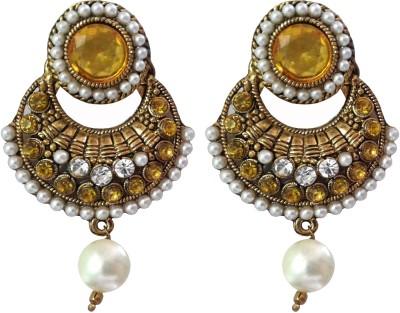 Shreya Collection Spring Sparkle-Yellow & White Alloy Chandbali Earring