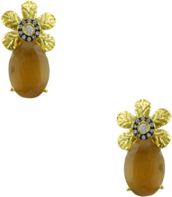 Orniza Designer Earrings in Champagne Color and Black Gold Polish Brass Stud Earring