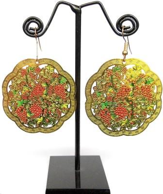 GiftPiper Enamelled Brass Danglers- Grapevine Pattern Enamel Earring Set