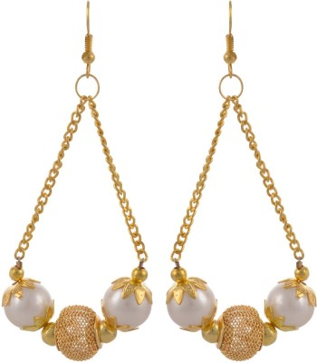 Heartzy Gold Plated Wedding Pearl Alloy Dangle Earring