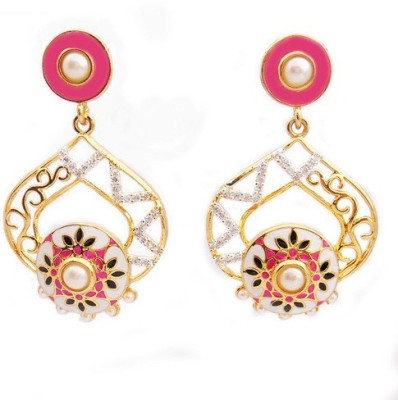 MK Jewellers DESIGNER PINK AND WHITE MEENAKRI EARING WITH AD AND KUNDAN Brass Dangle Earring