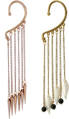 Pankh Pearls, Feather and Chain Alloy Cuff Earring