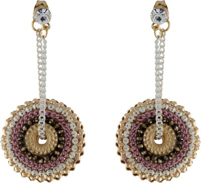 One Stop Fashion Stylish And Elegant Pink Colour Long Alloy Drop Earring