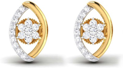 P.N.Gadgil Jewellers Leafy Floral Yellow Gold 18kt Diamond Stud Earring at flipkart
