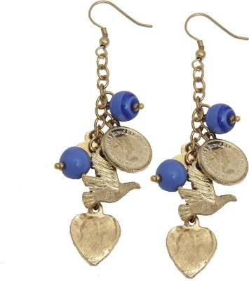 Swan Jewels Gold and Blue Statement Dangler Metal Dangle Earring