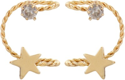 Fayon Daily Casual Work Golden Star & Unique Wire Crystal Alloy Cuff Earring
