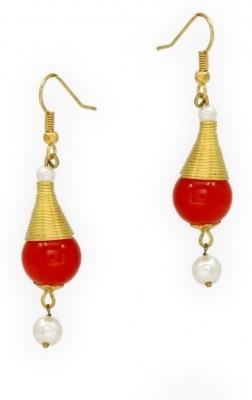 Jewelskaro Antique Designer fashion jewelry Designs Orange Bead Pearl Pearl, Beads Brass Dangle Earring